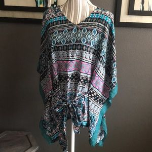 Listicle Tops - Listicle poncho style top, with waist tie